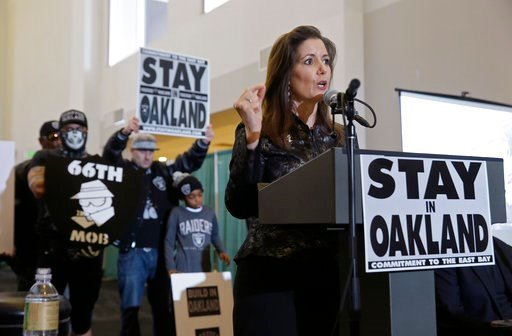 Oakland Mayor Libby Schaaf gestures during a rally to keep the Oakland Raiders from moving Saturday, March 25, 2017, in Oakland, Calif. (AP Photo/Eric Risberg)