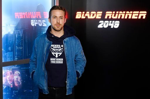 "Ryan Gosling, a cast member in the upcoming film ""Blade Runner 2049,"" poses during a photo call backstage at the Sony Pictures Entertainment presentation at CinemaCon 2017 at Caesars Palace."