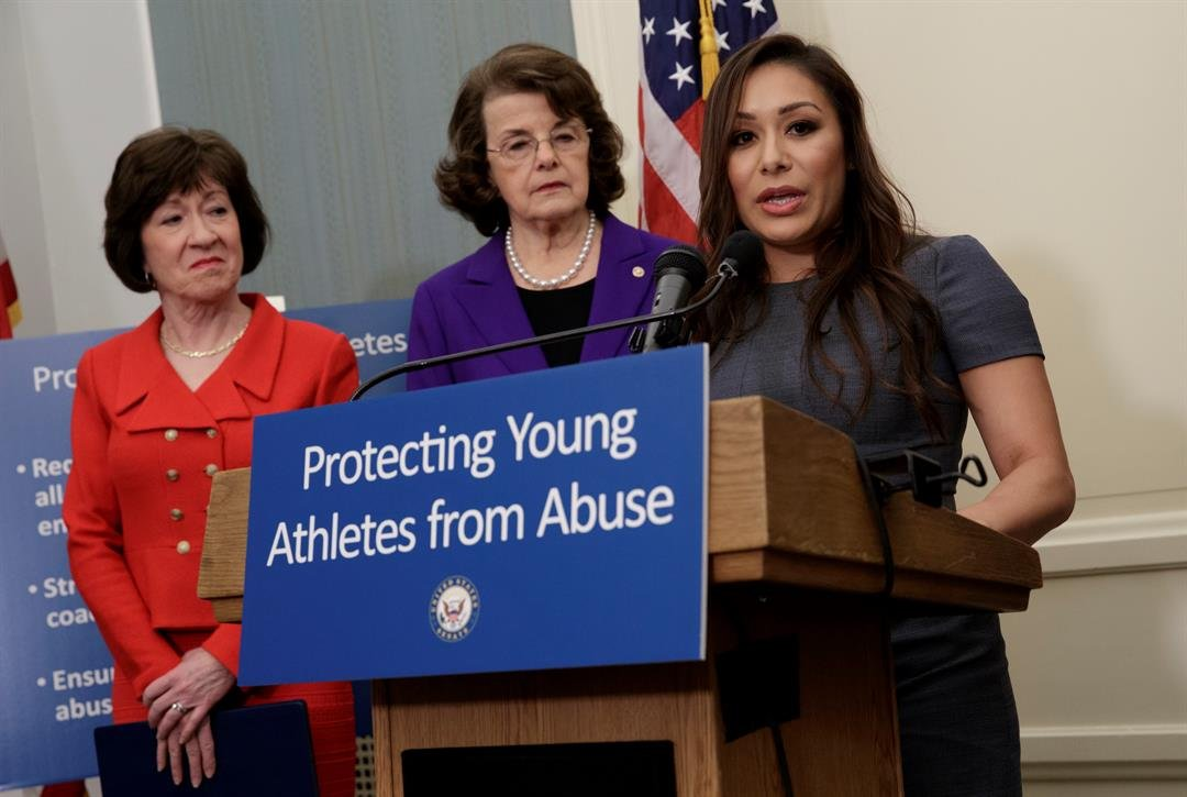 Former Team USA gymnast Jeanette Antolin speaks during a news conference on Capitol Hill. (AP Photo/J. Scott Applewhite)