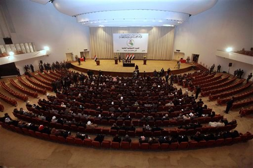 Iraqi lawmakers attend the parliament session in Baghdad, Iraq, Thursday, Nov. 11, 2010.