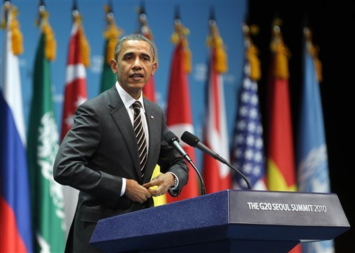 U.S. President Barack Obama gestures during a closing press conference at the G20 Summit in Seoul, South Korea Friday, Nov. 12, 2010.