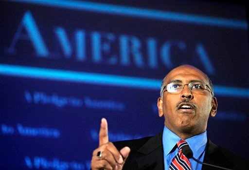 Republican National Committee Chairman Michael Steele speaks during an election night gathering hosted by the National Republican Congressional Committee, in Washington. GOP activists are making an aggressive push to recruit a challenger to Steele.