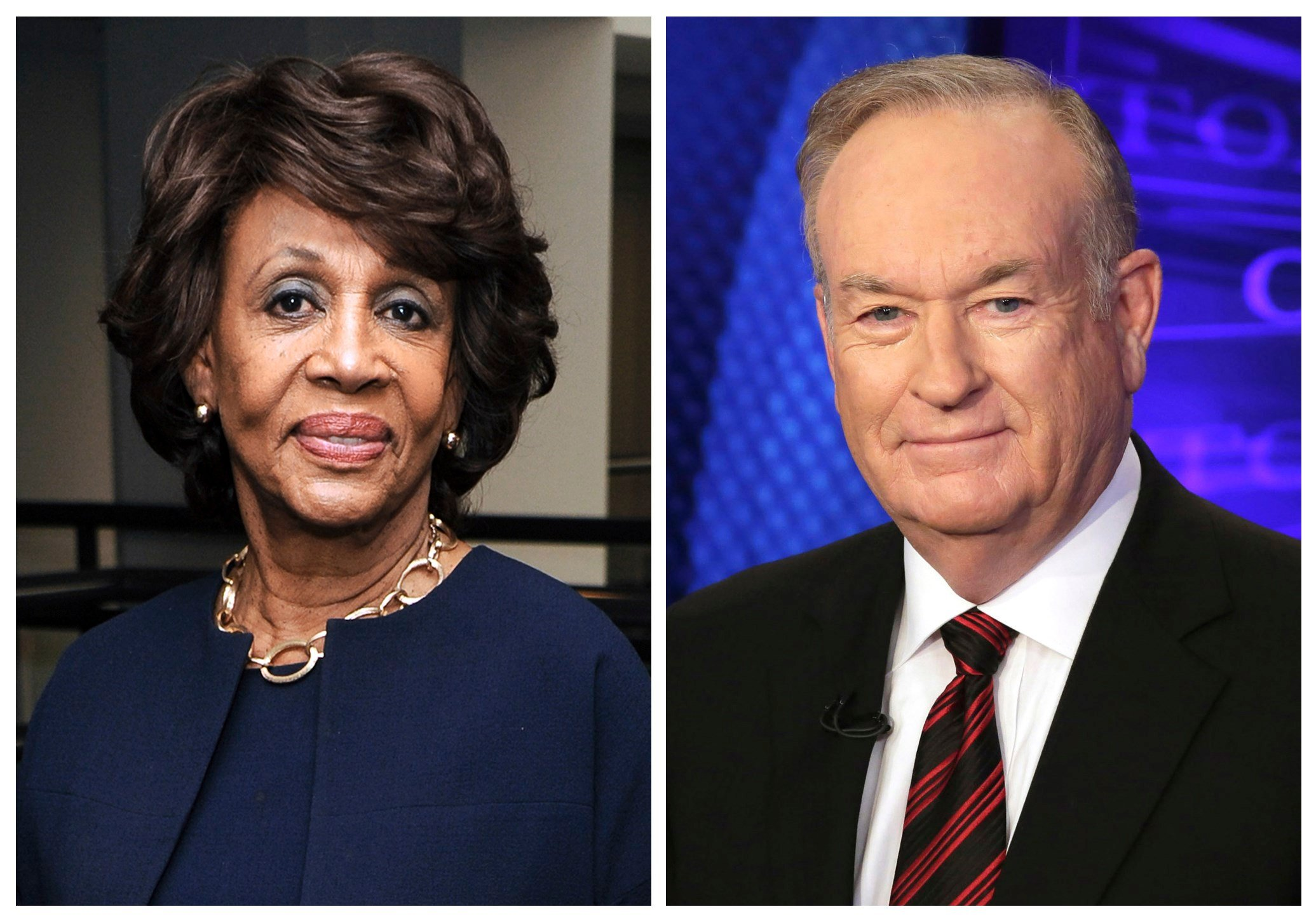 """Rep. Maxine Waters, D-Calif., left, appears at the Justice on Trial Film Festival in 2013, and Fox News personality Bill O'Reilly appears on the set of his show, """"The O'Reilly Factor,"""" in 2015. (AP Photos/Richard Shotwell, left, and Richard Drew)"""