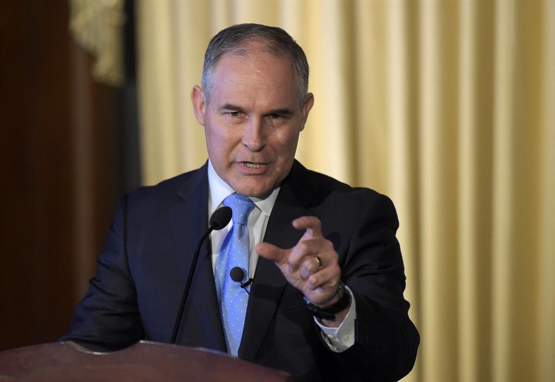 Environmental Protection Agency (EPA) Administrator Scott Pruitt speaks to employees of the EPA in Washington, Tuesday, Feb. 21, 2017. (AP Photo/Susan Walsh)