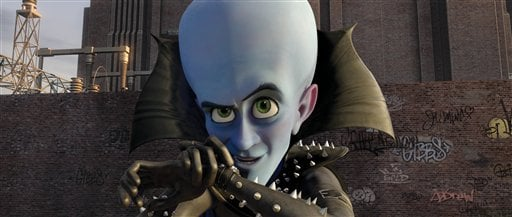 "In this film publicity image released by Paramount and DreamWorks Animation, Megamind, voiced by Will Ferrell, is shown in a scene from the animated feature ""Megamind."" (AP Photo/DreamWorks Animation, Paramount Pictures)"