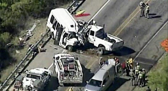 Video provided by KABB/WOAI shows a deadly crash involving a van carrying church members and a pickup truck on U.S. 83.