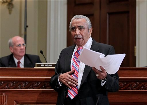 Rep. Charles Rangel, D-NY, appears before the House Committee on Standards of Official Conduct as he faces charges of violating House ethics rules, Monday, Nov. 15, 2010, on Capitol Hill in Washington. Rep. Peter Welch, D-Vt., is seated at left.