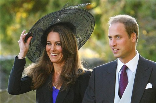 FILE - In this Oct. 23, 2010 file photo, Britain's Prince William and Kate Middleton leave the wedding of their friends Harry Mead and Rosie Bradford in the village of Northleach, England.