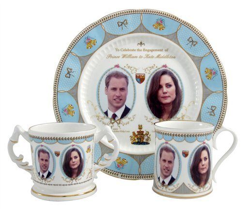 This image made available in London by Aynsley China shows one of a series of designs for a new range of china pieces which went into production Tuesday Nov. 16, 2010, following the announcement of Prince William and Kate Middleton's engagement.