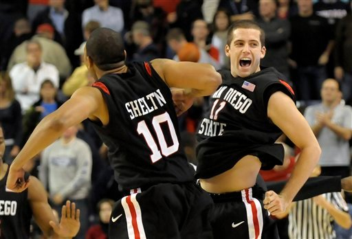 San Diego State's James Rahon (11) and Tim Shelton (10) celebrate their victory over Gonzaga during an NCAA college basketball game, Tuesday, Nov. 16, 2010, in Spokane, Wash. San Diego State beat Gonzaga 79-76. (AP Photo/Jed Conklin)