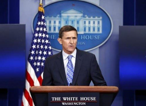National Security Adviser Michael Flynn speaks during the daily news briefing at the White House, in Washington.