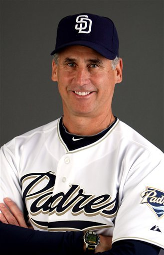 This 2010, file photo shows San Diego Padres manager Bud Black. Black won the NL Manager of the Year award Wednesday, Nov. 17, 2010.