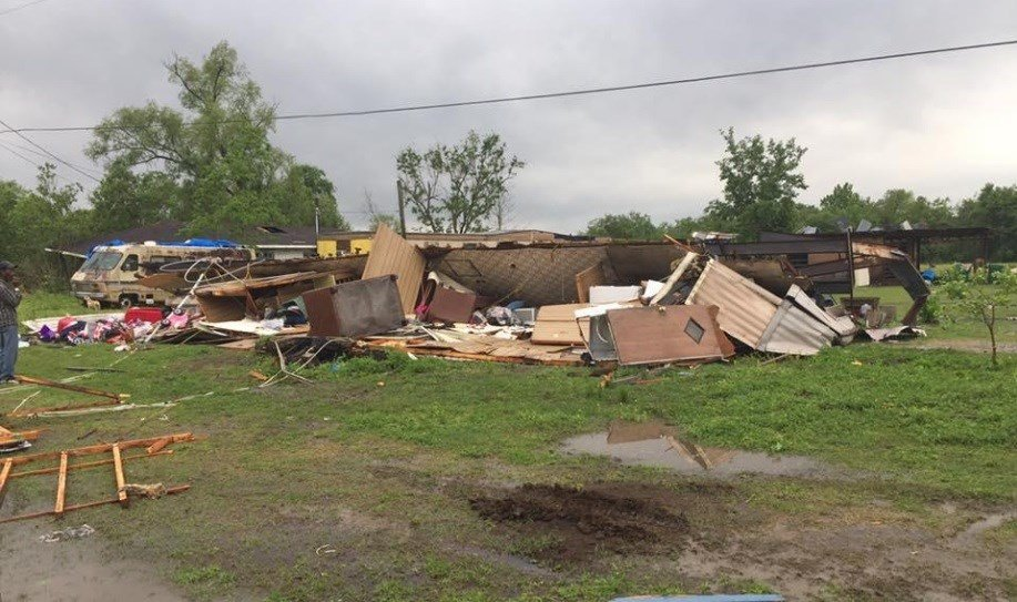 A woman and her 3-year-old daughter were killed after what may have been a tornado flipped their home on the morning of Sun., April 2, 2017 in Louisiana.  ST. MARTIN PARISH SHERIFF'S OFFICE via CBS News