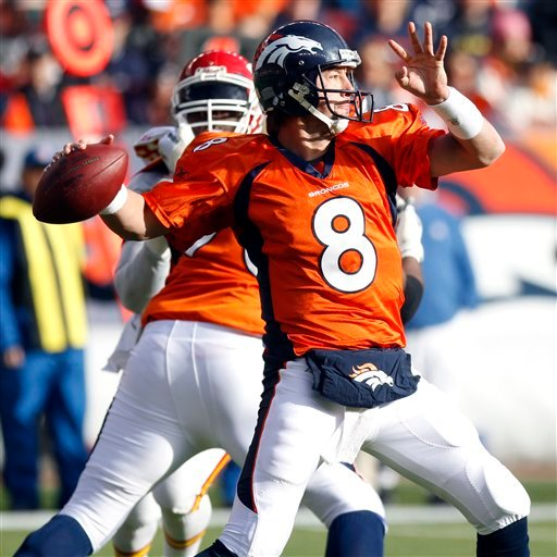 Denver Broncos quarterback Kyle Orton (8) sets to throw a pass during the first quarter of an NFL football game against the Kansas City Chiefs, Sunday, Nov. 14, 2010, in Denver. (AP Photo/ Ed Andrieski)
