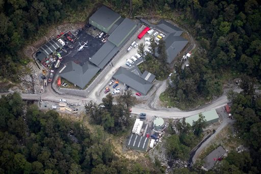 An aerial view shows the Pike River Coal mine near Atarau where an explosion ripped through New Zealand's largest coal mine Friday, Nov. 19, 2010, while about 30 people were underground. (AP Photo/New Zealand Herald, Stewart Nimmo)