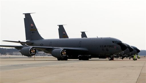 In this Feb. 10, 2009 file photo, Air Force KC-135 planes are seen on the tarmac at Andrews Air Force Base.