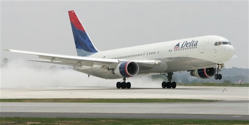 In this May 16, 2008 file photo, a Delta 767 jet takes off from Hartsfield-Jackson Atlanta International Airport in Atlanta. (AP Photo/John Amis, File)
