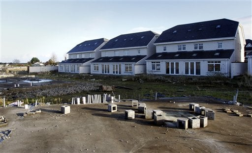 Houses stand vacant in the Castlemoyne development in North Dublin, Ireland, Friday, Nov. 19, 2010. (AP)