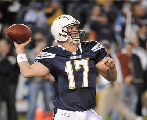 San Diego Chargers quarterback Philip Rivers prior to the Chargers' NFL football game against the Denver Broncos Monday, Nov. 22, 2010, in San Diego.