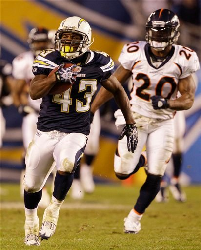 San Diego Chargers running back Darren Sproles out runs Denver Broncos safety Brian Dawkins while scoring on a 57-yard pass.