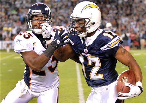 San Diego Chargers wide receiver Patrick Crayton battles Denver Broncos safety Renaldo Hill along the sidelines while gaining 49 yards on a pass during the first half.