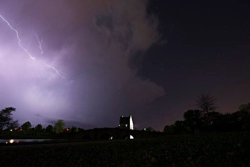 Lightning runs through cloud over Blount Cultural Park in Montgomery, Ala., Wednesday, April 5, 2017, as a thunderstorm moves through southern Montgomery County. (Albert Cesare/The Montgomery Advertiser via AP)