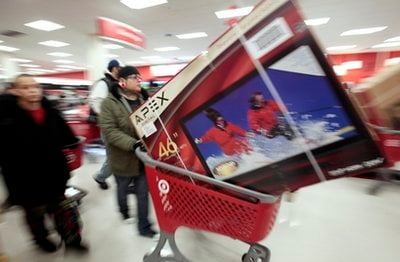 Shoppers take advantage of Black Friday sales in the early morning at a Target store Friday, Nov. 26, 2010 in Chicago. The store opened at 4 a.m. on Friday.