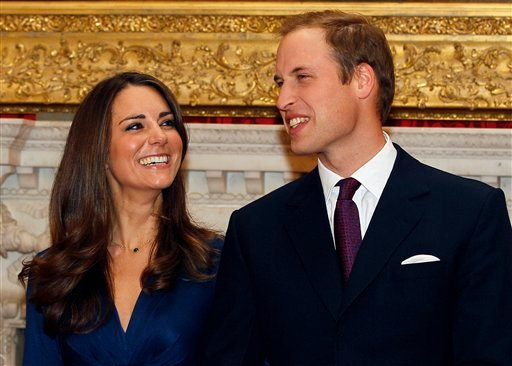 In this Nov. 16, 2010 file photo, Britain's Prince William and his fiancee Kate Middleton are seen at St. James's Palace in London, after they announced their engagement. (AP Photo/Kirsty Wigglesworth, file)