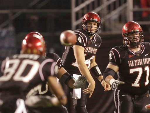 San Diego State's quarterback Ryan Lindley fires a pass to wide receiver Vincent Brown, left, during the first half of a NCAA college football game Saturday, Nov. 20, 2010, in San Diego. Lindley threw for 322 yards in the first half. (AP Photo).