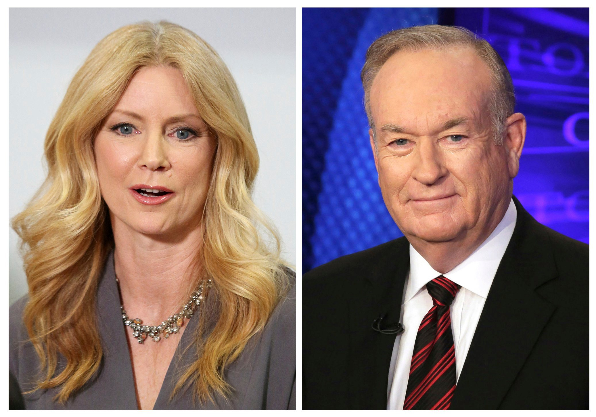 Former Fox News contributor Wendy Walsh appears at a news conference and Fox News personality Bill O'Reilly appears on the set of his show. (AP Photo/Anthony McCartney, left, and Richard Drew, Files)