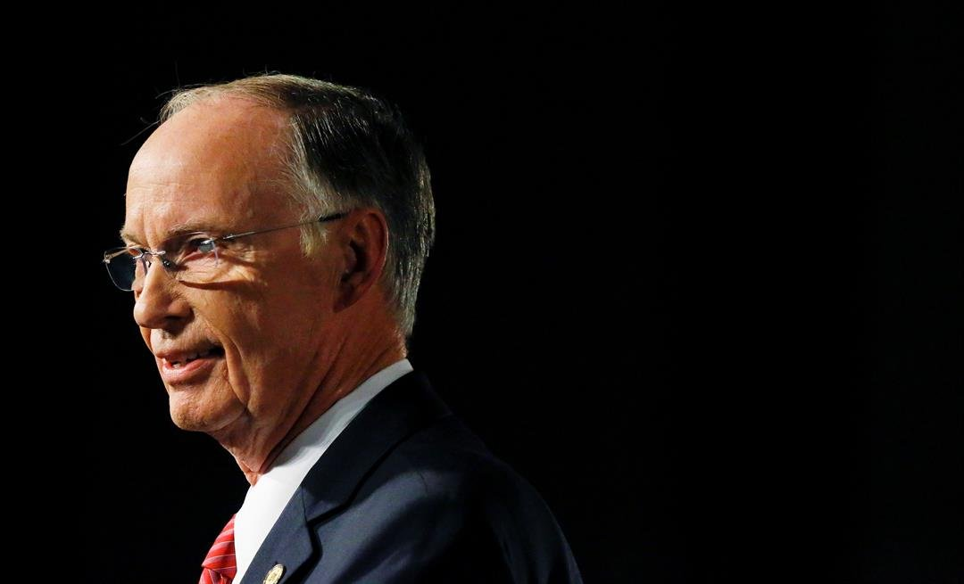 FILE - In this Tuesday, Feb. 7, 2017, file photo, Alabama Gov. Robert Bentley speaks during the annual State of the State address at the Capitol, in Montgomery, Ala. (AP Photo/Brynn Anderson, File)