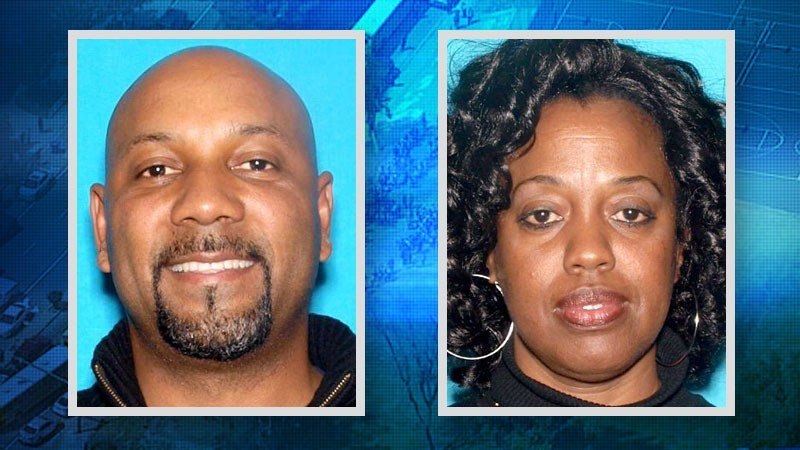 (right) Victim in school shooting identified as Karen Smith, age 53, estranged wife of suspect (left) identified as Cedric Anderson, age 53, resident of Riverside, CA.