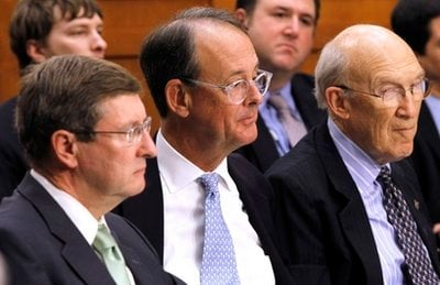 From left, Debt Commission member, Senate Budget Committee Chairman Sen. Kent Conrad, D-N.D., and co-chairmen, Erskine Bowles, and former Wyoming Sen. Alan Simpson, listen during a meeting of the commission on Capitol Hill in Washington on Dec. 1.