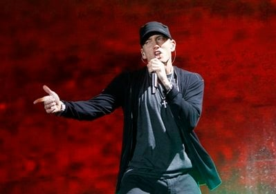 FILE - In this Sept. 13, 2010 file photo, rapper Eminem performs at Yankee Stadium in New York.