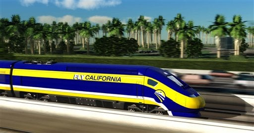This image provided by the California High-Speed Rail Authority shows an artist's conception of a high-speed rail car in California.