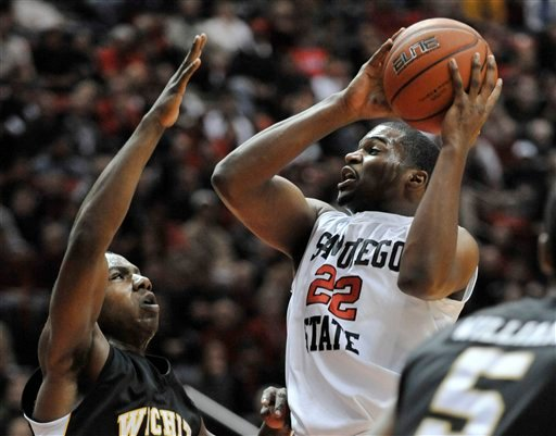 San Diego State's Chase Tapley (22) shoots over Wichita State's Joe Ragland, left, during the first half of an NCAA college basketball game Saturday, Dec. 4, 2010 in San Diego. (AP Photo/Denis Poroy)