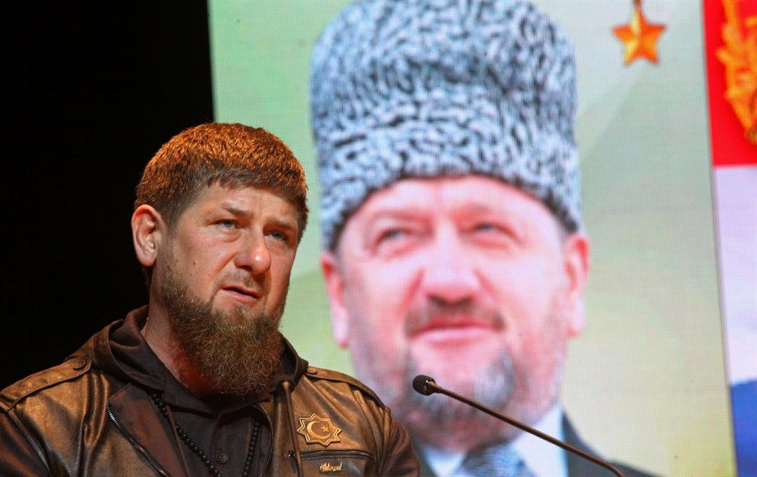 Chechen regional leader Ramzan Kadyrov speaks at a meeting marking the Defenders of the Fatherland Day, in Chechnya's provincial capital Grozny, Russia, Wednesday, Feb. 22, 2017. (AP Photo/Musa Sadulayev)