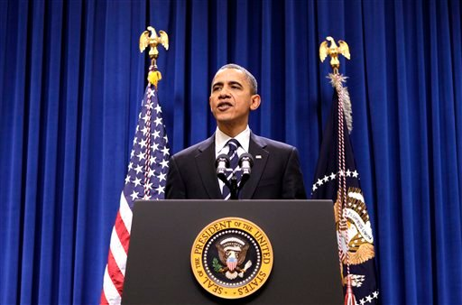 President Barack Obama makes statement in the Eisenhower Executive Office Building, part of the White House complex, in Washington, Monday, Dec. 6, 2010.
