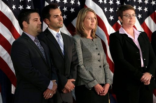 Jeff Zarrillo, from left, Paul Katami, Sandy Stier and Kris Perry are shown at a news conference at the University of California Hastings School of Law. (AP Photo/Jeff Chiu)