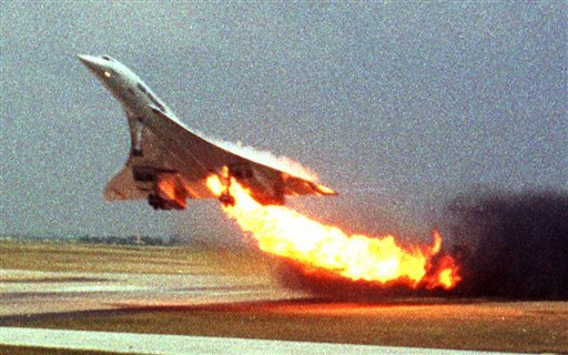 In this July 25, 2000, Air France Concorde flight 4590 takes off with fire trailing from its engine on the left wing from Charles de Gaulle airport in Paris.