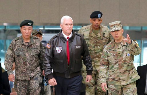 VP Mike Pence w/U.S. Gen. Vincent Brooks, commander of United Nations Command, U.S. Forces Korea and Combined Forces Command & South Korean Deputy Commander of Combined Force Command Gen. Leem Ho-young at Panmunjom village 4/17/17. (AP Photo/Lee Jin-man)