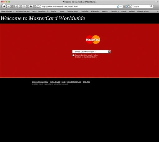 This screen shot shows the home page of Mastercard.com. Mastercard is having severe technical problems Wednesday, Dec. 8, 2010, possibly a target by supporters of WikiLeaks founder Julian Assange.