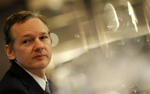 In this Saturday, Oct. 23, 2010 file picture founder of the WikiLeaks website, Julian Assange, speaks during a press conference in London.