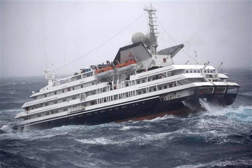 "This Dec. 7, 2010 photo shows the Antarctic tourist ship the ""Clelia II"" struggling in high seas with 165 people aboard in the southern Drake Passage, just north of the Shetland Islands."