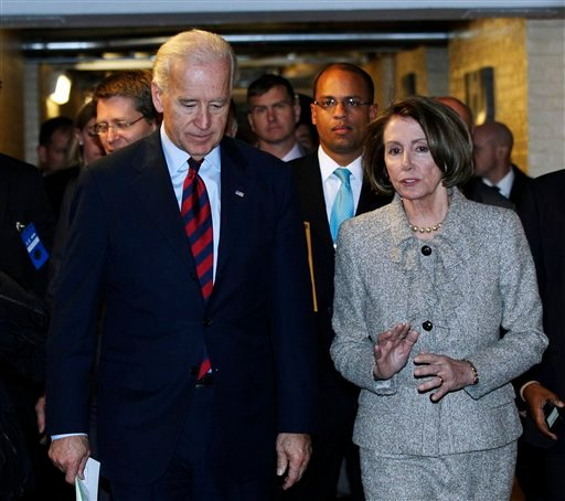 Vice President Joe Biden, left, and House Speaker Nancy Pelosi talk as they leave a Democratic Caucus meeting on Capitol Hill in Washington, Wednesday, Dec. 8, 2010. (AP Photo/Manuel Balce Ceneta)