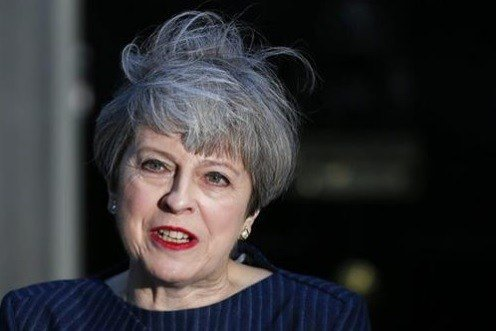 Britain's Prime Minister Theresa May speaks to the media outside her official residence of 10 Downing Street in London.