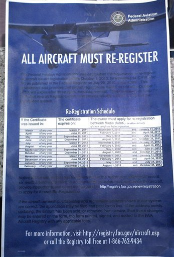 This Dec. 5, 2010 photo taken at he Solberg-Hunterdon Airport in Readington, N.J., shows a poster announcing that all aircraft must be re-registered with the Federal Aviation Administration.