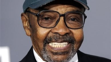 In this Sunday, Feb. 8, 2009 file photo, James Moody arrives at the 51st Annual Grammy Awards in Los Angeles. (AP Photo/Chris Pizzello, File)