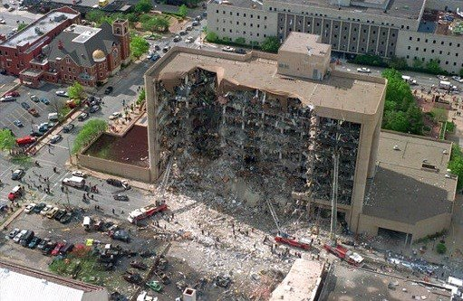 In this April 19, 1995, file photo, shows the north side of the Alfred P. Murrah Federal Building in Oklahoma City after an explosion that killed 168 people.