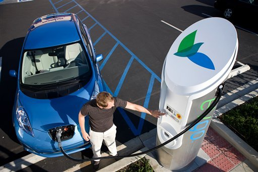 In this photo provided Nov. 11., 2010, by NRG Energy is a non-functioning model of an electric vehicle charger in Los Angeles, Calif., that is like those that will be installed in Houston.